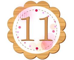 11の数字が円の中央に書いてあるイラスト