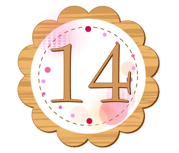 14の数字が円の中心に描かれているイラスト