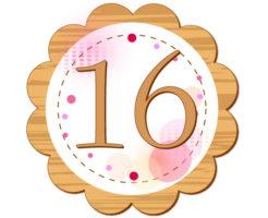 16の数字が円の中心に描かれているイラスト