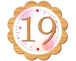 19の数字が円の中心に描かれているイラスト