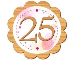 25という数字が円の中に書いてあるイラスト