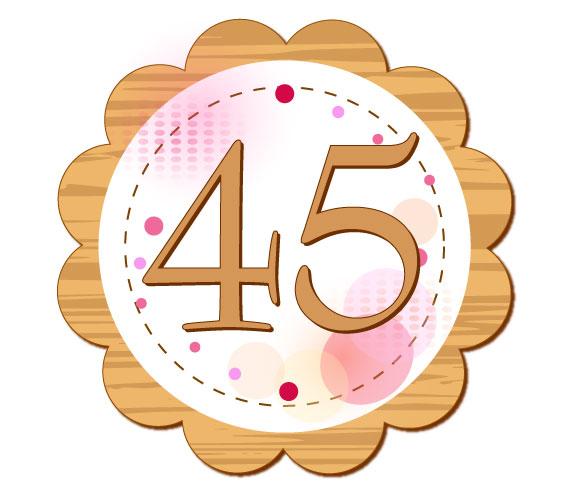 45という数字が書かれているイラスト