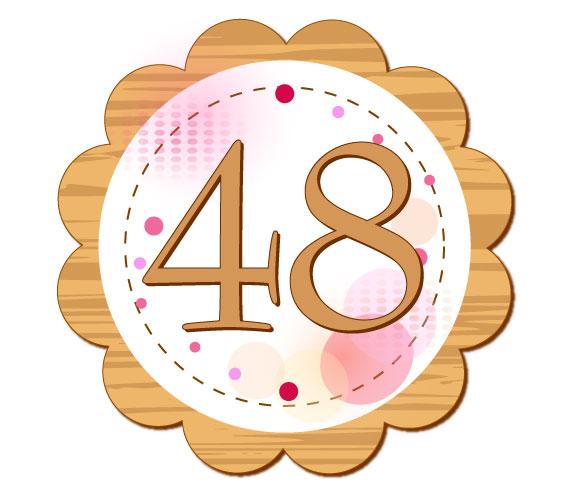 48が中央に書かれている円のイラスト