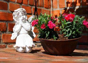 天使の人形と綺麗な花の写真