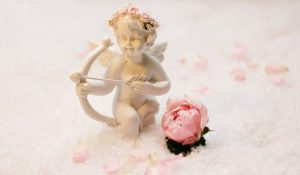 天使の人形とバラの写真