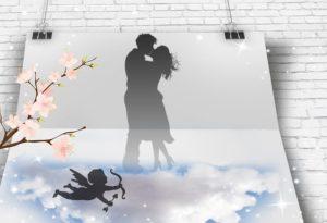 カップルと天使のイラスト
