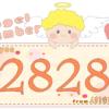 数字の2828と天使が描かれているイラスト