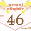 数字の46と天使が描かれているイラスト