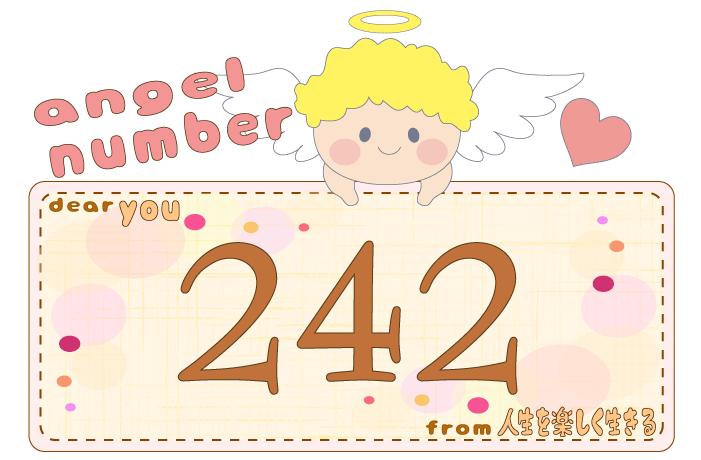 数字の242と天使が描かれているイラスト